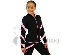 Ice Skating Jacket J36 Black w Pink Spirals with Swarovski Crystals