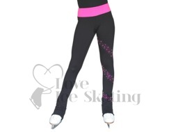 Chloe Noel PS96 Ice Skating Leggins with Fuchsia Crystal Spiral