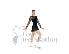 Black Velvet Long Sleeved Figure Skating Dress w Swarovski Crystals by Chloe Noel