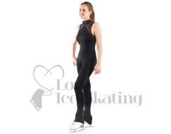 Sagester Black Ice Skating Catsuit with Swarovski Crystals