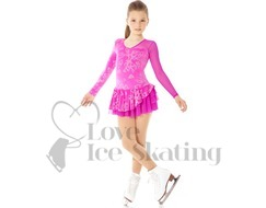 Mondor Figure Skating Dress Pink with Glitter Hearts Explosions AGE 8-10