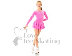 Velvet Pink Ice Skating dress with Glitter Design by Mondor