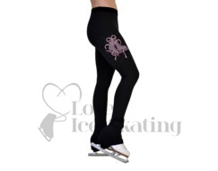 Chloe Noel p86 Ice Skating Leggings Crystal Skate w Fuchsia Ribbon & Swarovski Crystals
