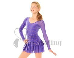 Mondor Ice Skating Dress Purple with Glitter Hearts