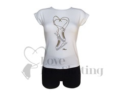 Intermezzo White Figure Skate T-Shirt with Rhinestones