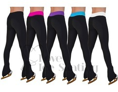 Chloe Noel PS35 Black Ice Skating Leggings with Fuchsia Waistband