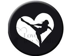 Figure Skating Spiral Black Heart badge