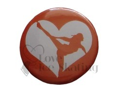 Bronze Ice Skating Spiral Heart badge