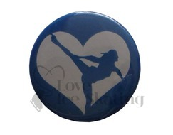 Ice Skating Spiral Blue Heart badge