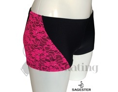 Sagester 449 Ice Skating Shorts Fuchsia Lace with Swarovski Crystals