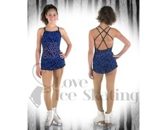 Sagester Ice Skating Dress Blue Animal Print with Swarovski AB Crystals