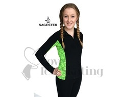 Sagester 261 Ice Skating Jacket with Neon Green Lace Insert & Swarovski Crystals