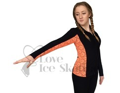 Sagester 261 Ice Skating Jacket with Orange Lace Insert & Swarovski Crystals