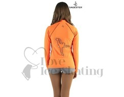 Sagester 264 Ice Skating Neon Orange Jacket with Spiral Crystal Skater