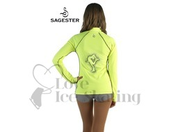 Sagester 264 Ice Skating Neon Yellow Jacket with Catch Foot Crystal  Figure Skater