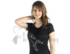 Sagester 044 Black Ice Skating T-Shirt with Crystal Spiral