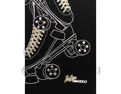 Intermezzo 6371 Black Roller Quad Skate T-Shirt with Rhinestones