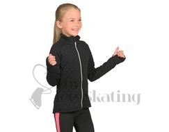 Ladies Anthracite Quilted Jacquard Ice Skating Warm up Jacket