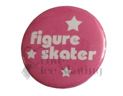 Figure Skater with Stars on Pink Badge