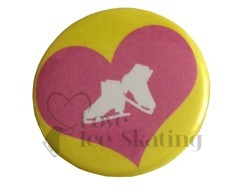 Pink Heart and Skates Badge