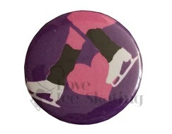 Ice Skates Pink Heart on Purple Badge
