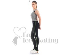 Sagester 424 Ice Skating Leggings Black with Green Metallic Trim