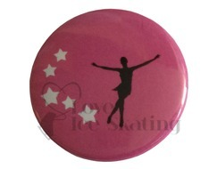 Skater and Stars on Pink badge