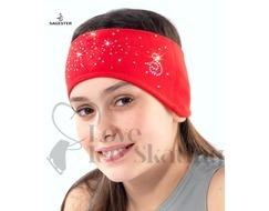 Sagester Red Figure Skating Headband with Swarovski Crystals