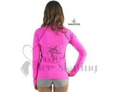 Sagester 264 Ice Skating Neon Fuchsia Pink Jacket with Layback Crystal Skater