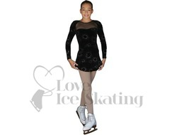 Black Glitter Ice figure Skating A Line Dress by Chloe Noel Style DLV675