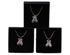 Ice Skates Pink & AB Crystal Pendant Necklace