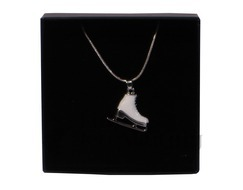 White Enamel Ice Figure Skate Pendant Necklace