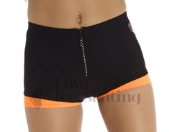 Neon Orange Thuono Ice Skating Thermal Shorts with Crystal Zip