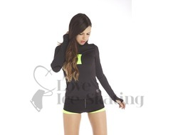 Neon Yellow Thuono Ice Skating Thermal Shorts with Crystal Zip