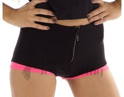 Thuono Neon Pink Thermal Ice Skating Shorts w Crystal Zip