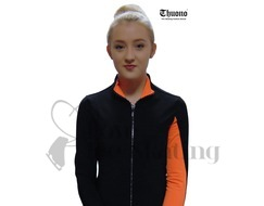 Thuono Neon Orange Performance Ice Skating Jacket with Crystal Zip