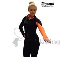 Thuono Neon Orange Performance Ice Skating Jacket with Crystal Zip