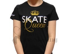Black T-Shirt with Skate Queen in Gold Gltter
