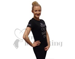 Keep Calm and Skate On Silver Glitter  Black T-Shirt