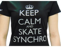 Dri- Ice Keep Calm and Skate Synchro Glitter Black T-Shirt