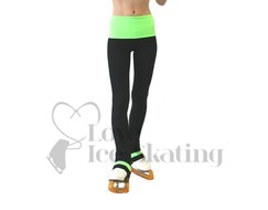 Thuono Black with Neon Green Smile Ice Skating Leggings Adult Large
