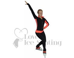 Thuono Performance Ice Skating Jacket with Crystal Zip in Coral Pink