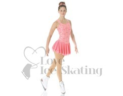 Mondor 12916 Coral Pink Lace Figure Skating Dress
