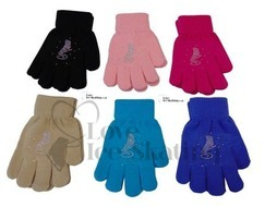 Chloe Noel GV22  Childrens Ice Skating Gloves with Crystals