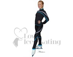 Chloe Noel Skating Leggings P618F w Crystals Blue & White