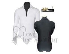 Men's White Ice Skating Dress Shirt Unitard