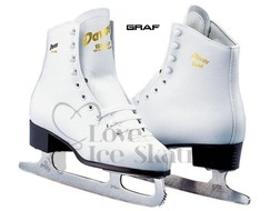 Graf Davos White  Girls Figure Skates
