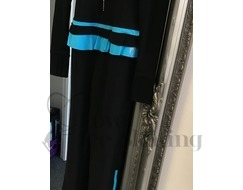 Thuono Neon Blue Thermal Ice Skating Catsuit Jumpsuit with Crystal Zip