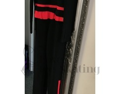 Thuono Ice Skating Black Red Thermal Catsuit Jumpsuit  with Crystal Zip Size 4