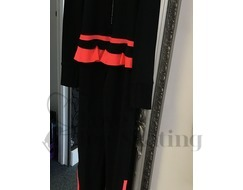 Ice Skating Thermal Catsuit Jumpsuit Black & Coral w Crystal Zip